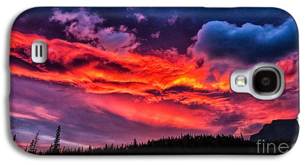 Fiery Sunrise At Glacier National Park Galaxy S4 Case