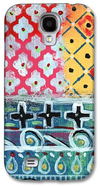 Fiesta 6- Colorful Pattern Painting Galaxy S4 Case by Linda Woods