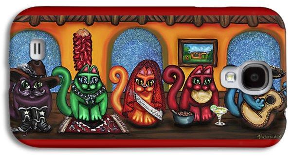 Fiesta Cats Or Gatos De Santa Fe Galaxy S4 Case by Victoria De Almeida
