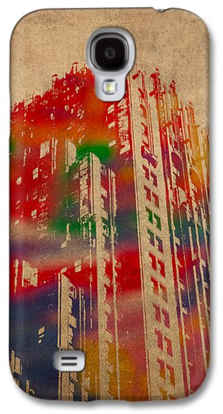 Fisher Building Iconic Buildings Of Detroit Watercolor On Worn Canvas Series Number 4 Galaxy S4 Case