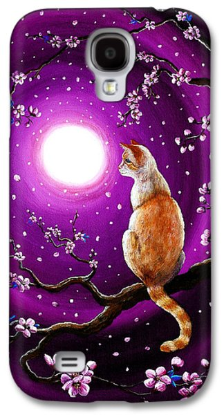 Flame Point Siamese Cat In Dancing Cherry Blossoms Galaxy S4 Case by Laura Iverson