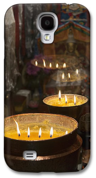 Flames Burning In A Row In Large Bronze Galaxy S4 Case by Keith Levit