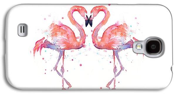 Heart Galaxy S4 Case - Flamingo Love Watercolor by Olga Shvartsur