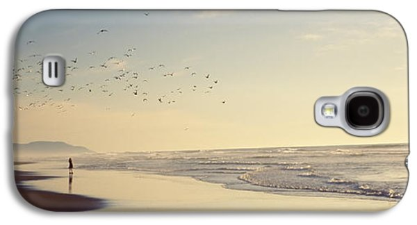 Flock Of Seagulls Flying Above A Woman Galaxy S4 Case by Panoramic Images