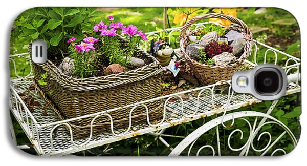 Flower Cart In Garden Galaxy S4 Case by Elena Elisseeva