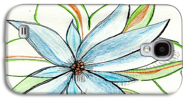 Flower In Blue Galaxy S4 Case by Becky Sterling