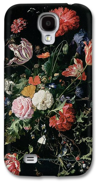 Flowers In A Glass Vase, Circa 1660 Galaxy S4 Case by Jan Davidsz de Heem