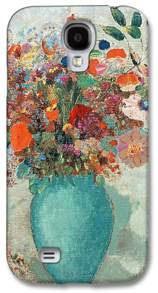Flowers In A Turquoise Vase Galaxy S4 Case by Odilon Redon