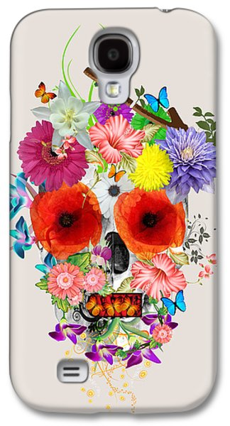 Flowers Scull  Galaxy S4 Case by Mark Ashkenazi