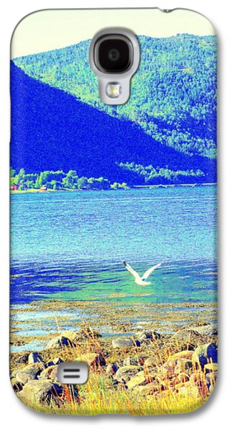 Seagull Flying Low, Mountains Standing Tall  Galaxy S4 Case by Hilde Widerberg
