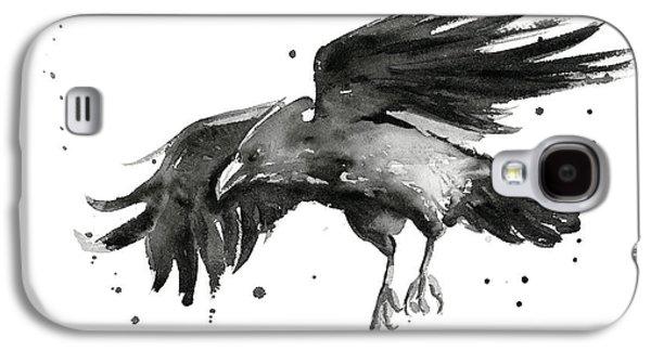 Flying Raven Watercolor Galaxy S4 Case by Olga Shvartsur