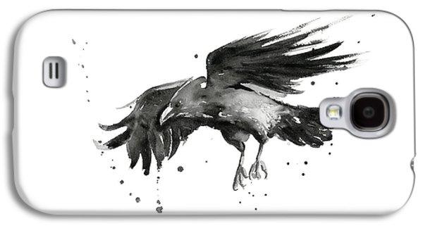 Crow Galaxy S4 Case - Flying Raven Watercolor by Olga Shvartsur