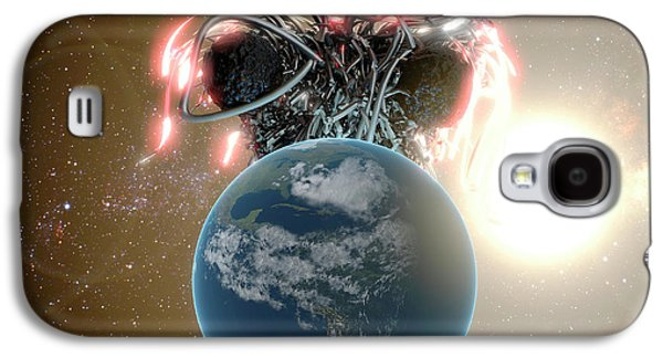 Flying Spaghetti Monster And Earth Galaxy S4 Case by Christian Darkin