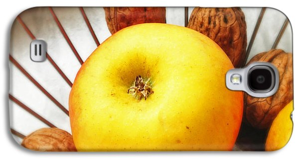 Orange Galaxy S4 Case - Food Still Life - Yellow Apple And Brown Walnuts - Beautiful Warm Colors by Matthias Hauser