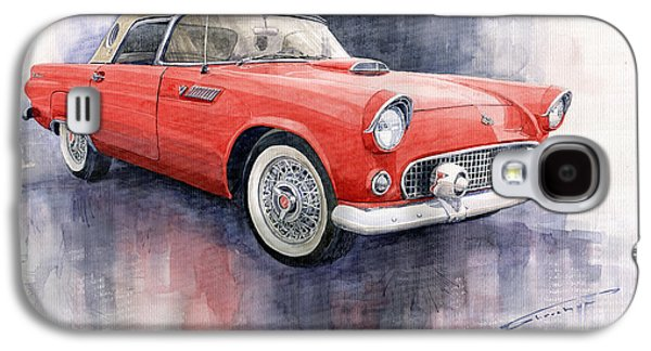 Ford Thunderbird 1955 Red Galaxy S4 Case by Yuriy  Shevchuk