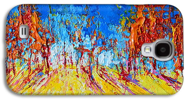 Tree Forest 1 Modern Impressionist Landscape Painting Palette Knife Work Galaxy S4 Case