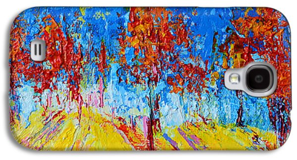 Tree Forest 4 Modern Impressionist Landscape Painting Palette Knife Work Galaxy S4 Case