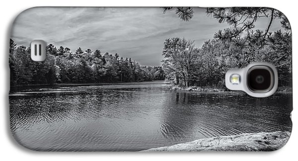 Galaxy S4 Case featuring the photograph Fork In River Bw by Mark Myhaver