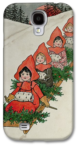 Four Little Girls On A Sledge  Galaxy S4 Case by Florence Hardy