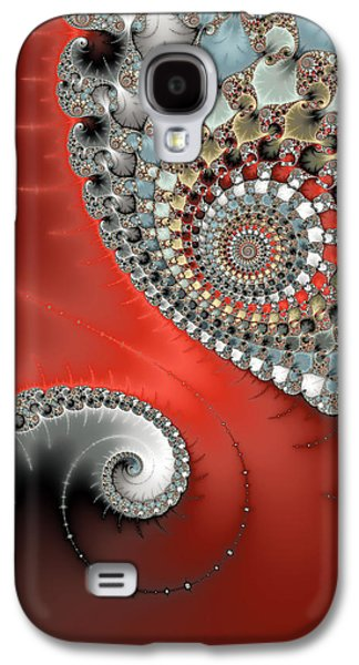 Fractal Spiral Art Red Grey And Light Blue Galaxy S4 Case