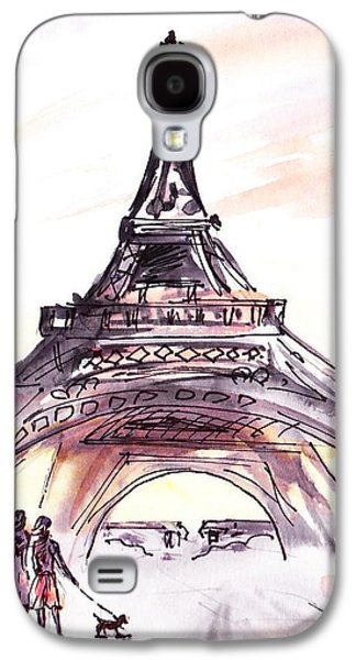 France Sketches Walking To The Eiffel Tower Galaxy S4 Case by Irina Sztukowski