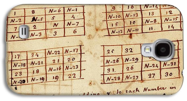 Franklin's Magic Squares Galaxy S4 Case by American Philosophical Society