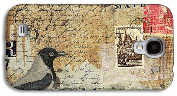 French Bird Postcard Galaxy S4 Case