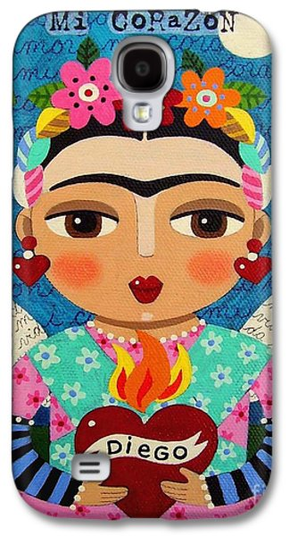 Frida Kahlo Angel And Flaming Heart Galaxy S4 Case by LuLu Mypinkturtle