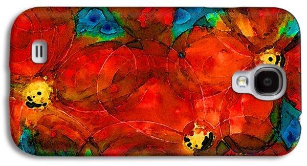 Garden Spirits - Vibrant Red Flowers By Sharon Cummings Galaxy S4 Case by Sharon Cummings