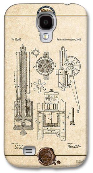 Gatling Machine Gun - Vintage Patent Document Galaxy S4 Case by Serge Averbukh