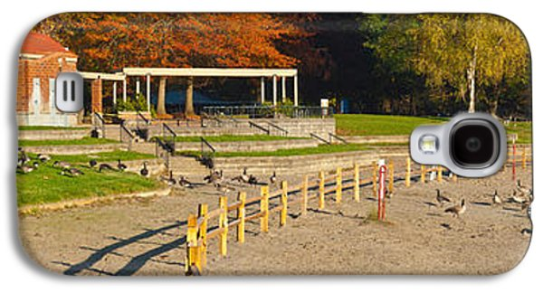 Geese Gathering In Blue Lake Regional Galaxy S4 Case by Panoramic Images