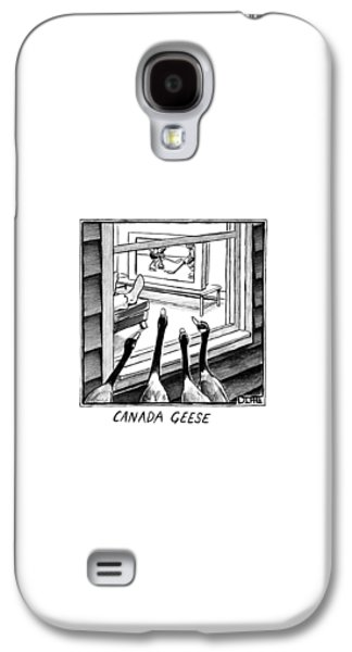 Goose Galaxy S4 Case - Geese Watching Hockey From A Window by Matthew Diffee