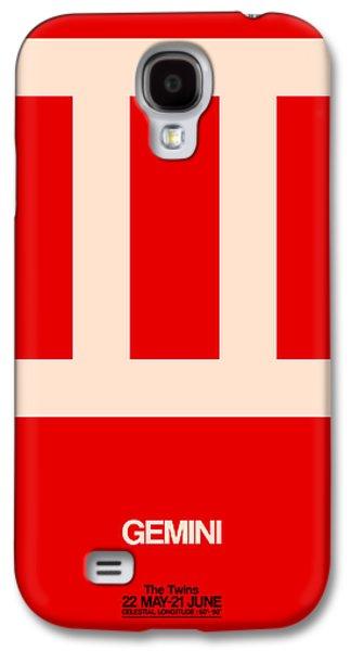 Gemini Zodiac Sign White On Red Galaxy S4 Case by Naxart Studio