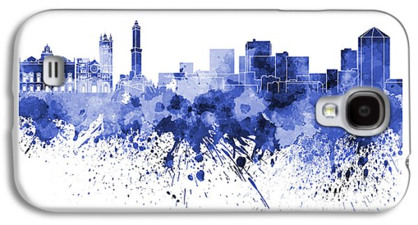 Genoa Skyline In Blue Watercolor On White Background Galaxy S4 Case