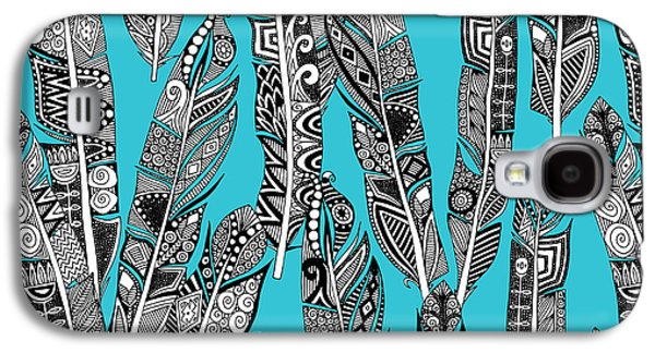 Geo Feathers Turquoise Blue Galaxy S4 Case by Sharon Turner