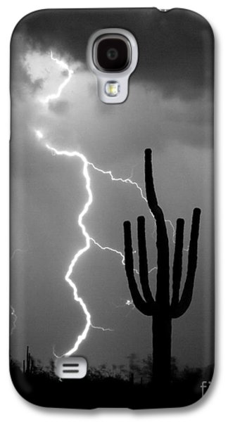 Giant Saguaro Cactus Lightning Strike Bw Galaxy S4 Case