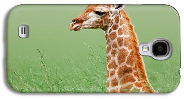 Giraffe Lying In Grass Galaxy S4 Case by Johan Swanepoel
