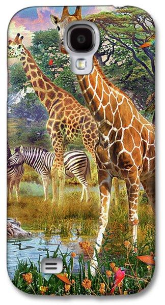Galaxy S4 Case featuring the drawing Giraffes by Jan Patrik Krasny