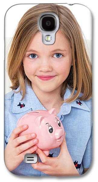 Girl Holding A Piggy Bank Galaxy S4 Case by Lea Paterson