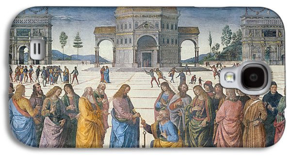 Giving Of The Keys To St Peter, From The Sistine Chapel, 1481 Galaxy S4 Case by Pietro Perugino