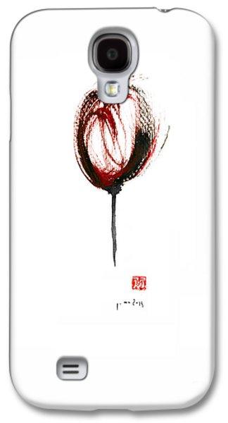 Glass Of Wine Red Purple Black Tulip Flower Burgundy Scarlet Bordeaux Cabernet Watercolors Painting Galaxy S4 Case