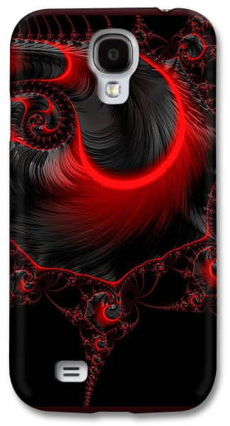 Glowing Red And Black Abstract Fractal Art Galaxy S4 Case