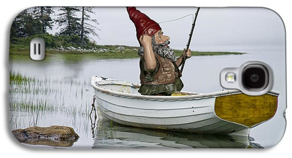 Gnome Fisherman In A White Maine Boat On A Foggy Morning Galaxy S4 Case