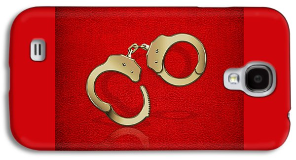 Gold Handcuffs On Red Leather Background Galaxy S4 Case by Serge Averbukh