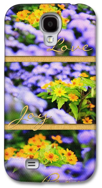Gold Medallion Flowers With Love Joy Peace Galaxy S4 Case by Beverly Claire Kaiya