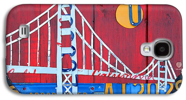 Golden Gate Bridge California Recycled Vintage License Plate Art On Red Distressed Barn Wood Galaxy S4 Case