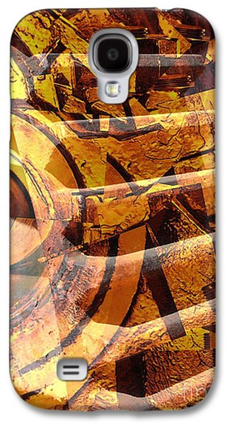 Golden Gears Abstract Galaxy S4 Case by Carol Groenen