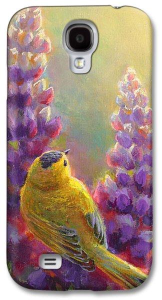 Warbler Galaxy S4 Case - Golden Light 1 Wilsons Warbler And Lupine by Karen Whitworth