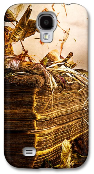 Golden Pages Falling Flowers Galaxy S4 Case by Bob Orsillo