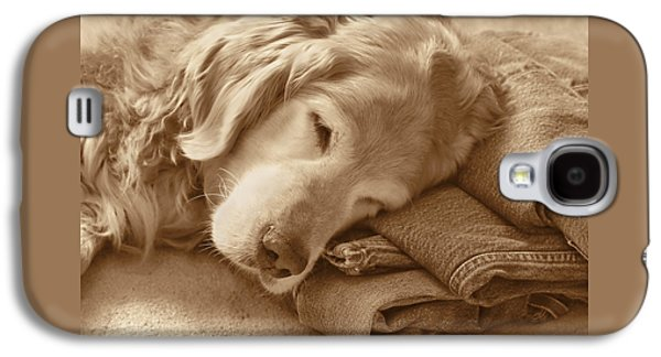 Golden Retriever Dog On Forever On Blue Jeans Sepia Galaxy S4 Case